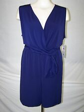 NY Collection  Navy Blue Sleeveless Shorts Romper Womens Plus Size 3X 22W 24W JU