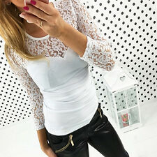 Women Ladies Blouse Tops Lace floral Spliced Long Sleeve T-shirt Fitted Slim