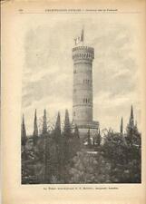 Stampa antica SAN MARTINO DELLA BATTAGLIA torre Brescia 1893 Old antique print