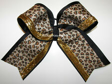 Leopard Big Cheer Bow Black Gold Multi Ribbon Ponytail Holder Girls Accessories