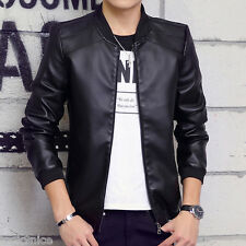 2016 Mens stand collar pu-leather short Jacket Coats trench parkas