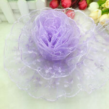 NEW Hot 5 Yards 65mm Purple Organza Lace Gathered Pleated Sequined Trim
