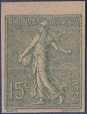 1903 FRANCE N° 130g Semeuse 15c Vert Non Dentelé BDF C:425€ TTB, Sower Imerf MNH