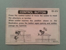 NINTENDO GAME&WATCH WIDESCREEN FIRE ATTACK ID-29 ORIGINAL CONTROL BUTTON SHEET