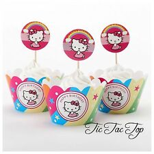 12 Hello Kitty Cupcake Toppers + 12 Wrappers. Jelly Cup Girls Party Supplies
