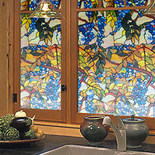 3D Grapevine Window Film Privacy Stained  Glass Film Bathroom Window Decor