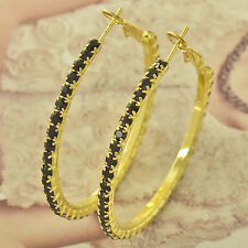 Around Black Cubic Zirconia 9k solid gold filled Ladies Hoop Earrings F4545