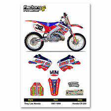 1997-1999 HONDA CR 250 TLD Motocross Graphics Dirt Bike Decal Sticker Kit