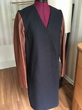 THEORY Navy Dark Russet Quennel Wool Blend Coat  Leather Sleeves Vest   sz small