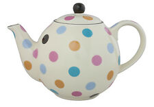 London Pottery 4 Cup Globe Teapot Cream with Multicoloured Spots Dots Tea Pot