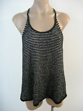 EILEEN FISHER Black Cotton Stretch Racerback Hi Lo Tank Top L Large NWT $198