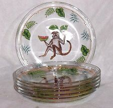 Set 6 Lynn Chase Monkey Business Clear Glass Plate Fruit Design Salad Dessert 8""
