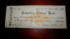 U.S. Congressman Edward McPherson Signed Check-Owner McPherson Farm Gettysburg