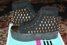 JEFFREY CAMPBELL HIYA SKULL HI/TOP SNEAKER BLACK/GOLD SIZE 9
