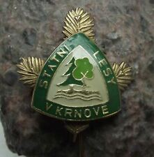 Krnov Czech Hunting & State Forestry Comission Pine Tree Twig 3D Pin Badge