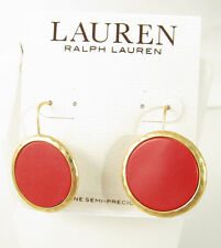 LAUREN RALPH LAUREN Bright Coral Stone Disc Drop Earrings