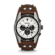 Fossil Men's CH2890 Coachman Chronograph White Dial Brown Leather Watch
