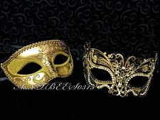 New ! Men Women Couple Gold Carnival Metal and Glitter Venetian Masquerade Mask
