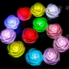 2 x 7 Colours Auto change Flameless LED Rose Romantic Tea Light + Batteries