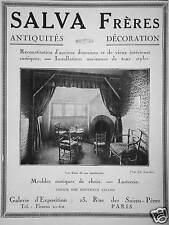 PUBLICITÉ SALVA FRÈRES ANTIQUITÉ DECORATION MEUBLES RUSTIQUES DE CHOIX LUSTRERIE