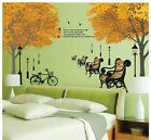 Garden Park View Tree Bicycle WALL STICKERS REMOVABLE HOME DECAL Art Vinyl DECOR