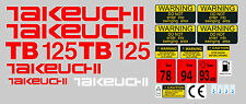 TAKEUCHI TB125 MINI DIGGER COMPLETE DECAL SET WITH SAFETY WARNING SIGNS