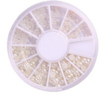 Best-selling 3 Sizes Nail Art White Pearl Rhinestone Decoration+Wheel Fashion