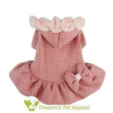 "Fitwarm 12""Chest Winter Dog Dress Sweater XSmall Pet Clothes Pink Coat Hoodie"