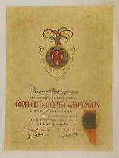 Diplôme de la Confrérie de la Chaine des Rotisseurs et son sceau original, 1954