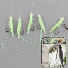 10Pcs Shrimp Rigs Glow in the dark Baits Fishing Lures Catch Hooks Sea Bass