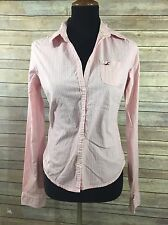 Hollister Womens Sz L Long Sleeve Pink Striped Button Front Shirt Cotton Stretch