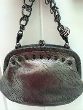 THOMAS WYLDE MENACE SKULL STUDDED ANTHRACITE LEATHER HANDBAG CLUTCH RARE $1250