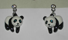 PANDA BEAR Earrings Pierced NEW Green Crystal Eyes Black White
