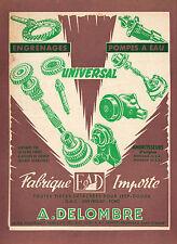 PUBLICITE   DELOMBRE IMPORTATION PIECES DETACHEES  /  ACCESSOIRES  AUTO AD 1955