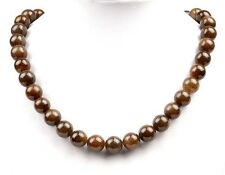 """18"""" Natural Brown Sugar Nephrite Jade Beads Necklace Jewelry, w/ Certificate"""