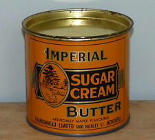Vtg graphic Canadian IMPERIAL 2lbs SUGAR not peanut butter tin can FREE SHIP!