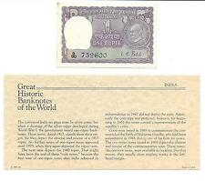 Great Historic Banknotes India 1 Rupee 1969 P 66  AUNC Prefix D/90