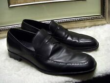 Authentic Ermenegildo Zegna Penny Loafers Black Leather Shoes 10 EE $795