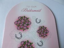 """Lovely """"To Our Bridesmaid"""" Wedding Day Thank You Card. Free P&P"""