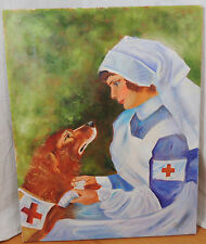 World War 1 Red Cross Nurse & Injuried Dog Original Painting Joyce