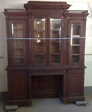 19th c. Walnut 4 Door Beveled Glass Breakfront