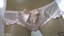 Gorgeous Ladies Ivory Satin Frilly Bow Brief Panties Knickers   UK 14 L