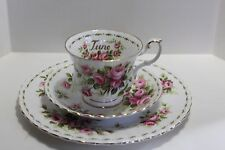 Royal Albert Flower of the Month JUNE ROSES Tea Cup, Saucer & Plate Trio
