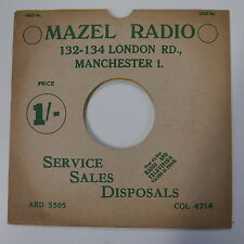"78rpm 10"" card gramophone record sleeve / cover MAZEL RADIO  green/white"