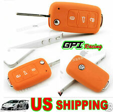 orange VW Key Silicone Case Cover Volkswagen GOLF BORA PASSAT BEETLE Jetta