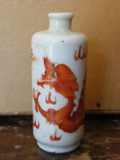 Antique Porcelain Chinese Snuff Bottle Dragon Pot à Tabac en Porcelaine XIX ème