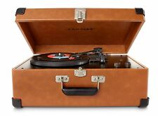 Turntable with Speakers Stereo System Crosley Record Player Portable Vintage Tan