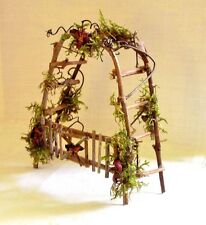 Fairy Garden Doll House Furniture TWIG Moss ROSE ARBOR W GATE TRELLIS Hand Made