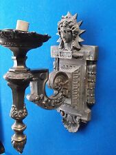 RARE set of 3 OLD large Sun God Torch Ornate Brass Wall Sconce lights MUST SEE!