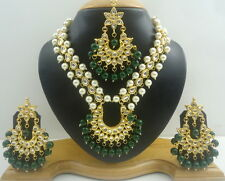 GREEN KUNDAN PEARL GOLD TONE BOLLYWOOD NECKLACE SET PARTY INDIAN ETHNIC JEWELRY